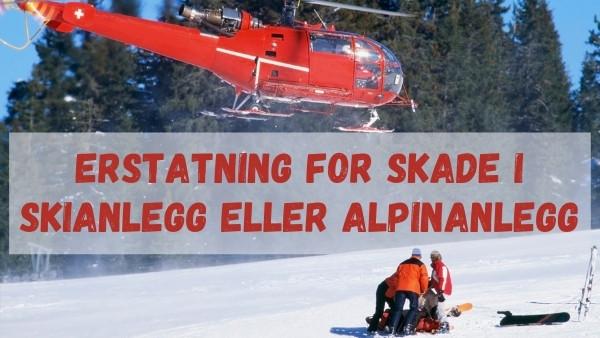 Et helikopter henter en pasient i et skianlegg som har fått en skade